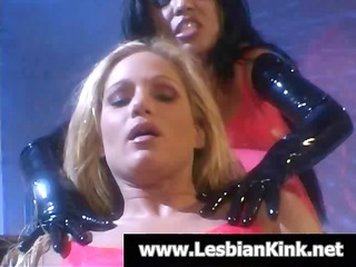 two lesbian babes in latex are getting s garb and