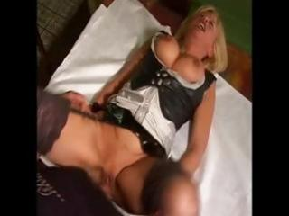 breasty mature golden-haired maid nibbles on his
