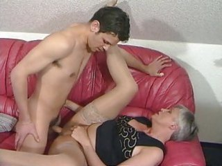 grey haired granny in nylons copulates the boy