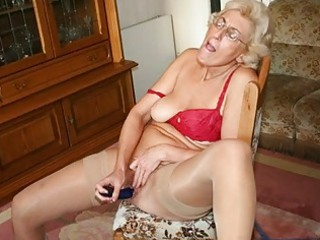 grandmom in hose masturbating with sex-toy