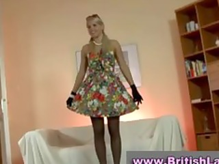 mature british lady dresses golden-haired in