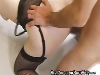 slender housewife in nylons receives screwed