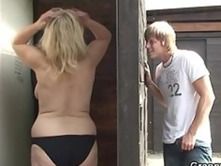 old slut blows and fucks him in the public