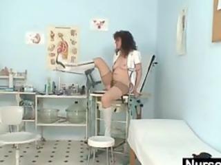 older amateur lady extremly bushy pussy self exam