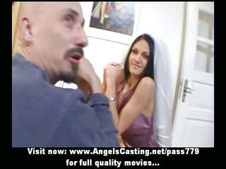 fantastic dark brown bride doing oral-service