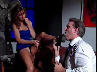sexy brunette secretary play hot foot fetish
