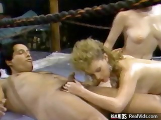 vintage three-some action with two women and a