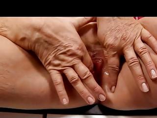 golden-haired granny in nylons fingers
