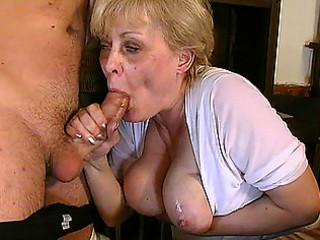 busty granny in oral-stimulation