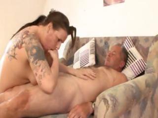 plump older german dark brown with tattoos rides