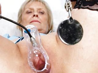 golden-haired granny nurse self exam with fur pie