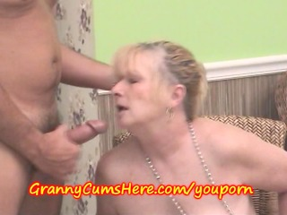 cum dump granny swills cum at party