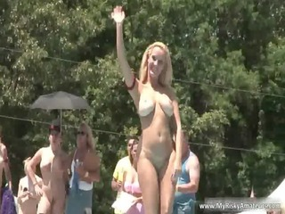 sexy golden-haired and brunette hair milf showing