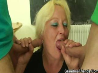 overweight granny teacher drilled all over the