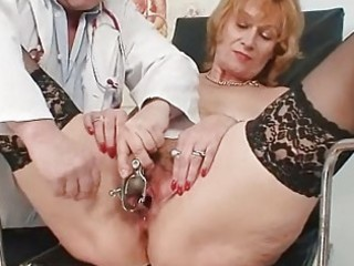 redhead granny dirty cookie stretching in gyn