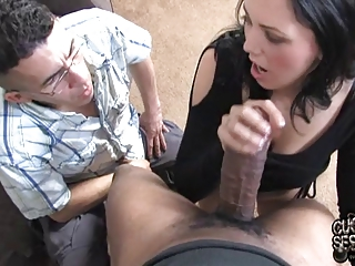 white wife takes biggest darksome penis in front