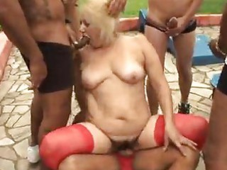 mature granny blond victoria team fuck outdoor sex