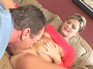 husband watches feisty blond wife take jock on a