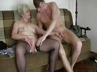 corpulent blond granny seduces a y...