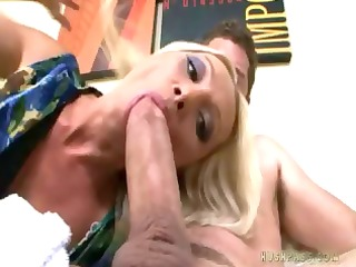 wicked blonde`s asshole swallows this rod in a