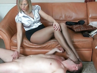 aged nylon spitting foot fetish and tugjob 9
