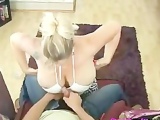 large wobblers tattoo cougar giving hand job