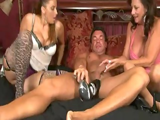 4 mature babes give a stockings footjob