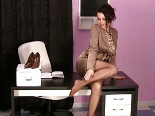 sexy milfs in the office wearing satin