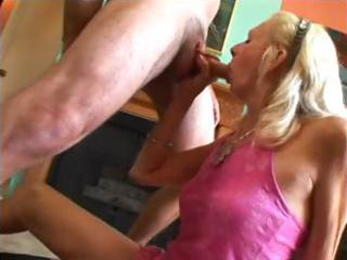 blond granny with a hairy bush gets nailed and