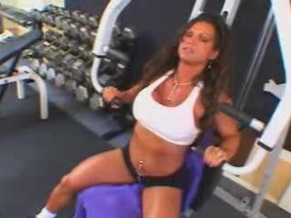 hot aged busty brunette hair bodybuilder