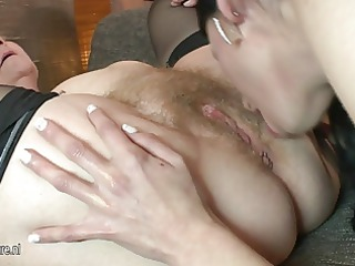 old and young lesbian babes go nuts at a party