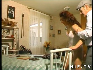 french aged anal fucked in 5way with papy voyeur