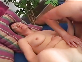 fat youthful unshaved granny in worthy act