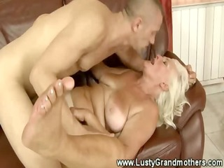 blond granny likes to receive immodest in living