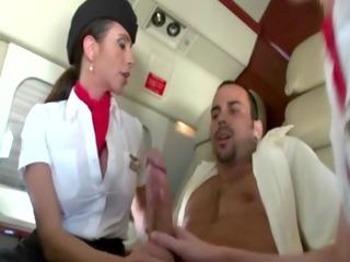 femdom milfs engulfing their passenger during his