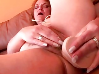 plump older granny sex-toy fucking her pussy