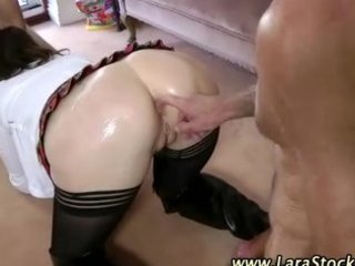 european chick in nylons takes on males in aged
