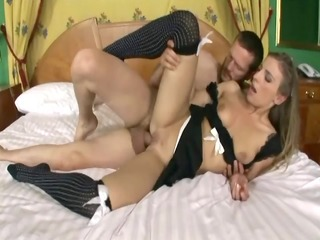 golden-haired fucking in her maid uniform and