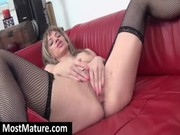 golden-haired mama toying butt