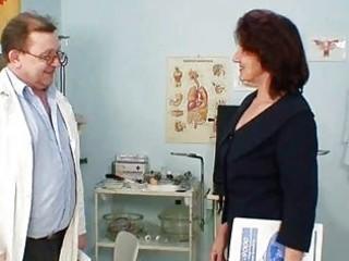 hirsute pussy grandma visits pervy woman doctor