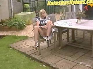 big beautiful woman housewife in hose masturbation