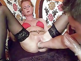 fist fucking the wifes massive cunt untill she is