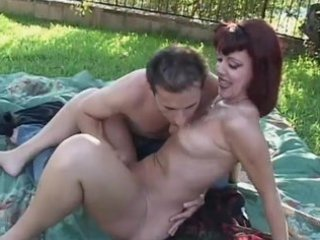 red head mommy fucked by boyfriend in the park -