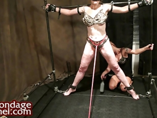 lesbo domination. young girl whips milf and makes