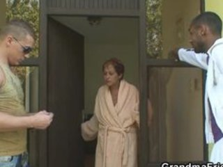 lonely grandma acquires pounded by two buddies