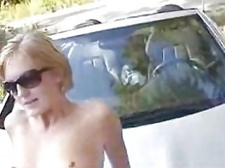 hot wife drilled on the car hood