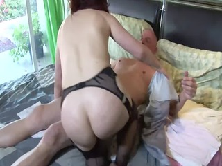 large boobed redhead fucking in thigh high nylons