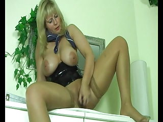 fat obese blonde milf masturbating her pussy and