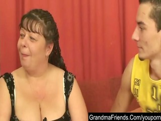 chubby mature is double fucked and cumfaced
