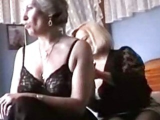 two grannies play in underware and nylons